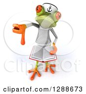 Clipart Of A 3d Green Springer Frog Sailor Holding Up A Thumb Down And An Open Book Royalty Free Illustration