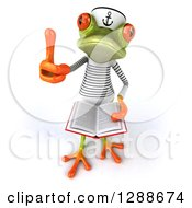 Clipart Of A 3d Green Springer Frog Sailor Holding Up A Thumb And An Open Book Royalty Free Illustration