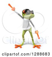 Clipart Of A 3d Green Springer Frog Sailor Wearing Sunglasses And Dancing Royalty Free Illustration