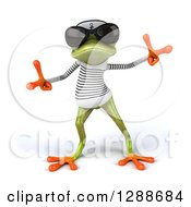 Clipart Of A 3d Green Springer Frog Sailor Wearing Shades And Dancing Royalty Free Illustration