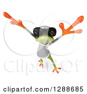 Clipart Of A 3d Green Springer Frog Sailor Wearing Sunglasses And Jumping Or Dancing Royalty Free Illustration