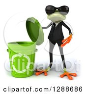 Clipart Of A 3d Business Green Springer Frog Wearing Sunglasses And Holding The Lid To A Recycle Bin Royalty Free Illustration