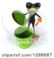 Clipart Of A 3d Business Green Springer Frog Wearing Sunglasses And Pointing To A Recycle Bin Royalty Free Illustration