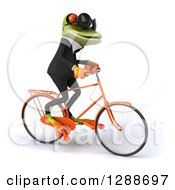 Clipart Of A 3d Business Green Springer Frog Wearing Sunglasses And Riding A Bicycle To The Right Royalty Free Illustration