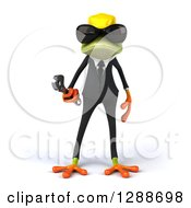 Clipart Of A 3d Contractor Green Springer Frog Wearing Sunglasses And Holding A Wrench Royalty Free Illustration by Julos