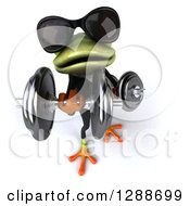 Clipart Of A 3d Business Green Springer Frog Wearing Sunglasses And Doing Bicep Curls With Dumbbells 4 Royalty Free Illustration by Julos
