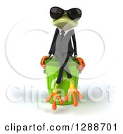 Clipart Of A 3d Business Green Springer Frog Wearing Sunglasses And Sitting On A Recycle Bin Royalty Free Illustration