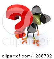 Clipart Of A 3d Business Green Springer Frog Wearing Sunglasses Looking Up And Holding A Question Mark Royalty Free Illustration