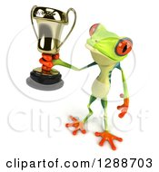 Clipart Of A 3d Argie Frog Holding Up A Trophy Royalty Free Illustration