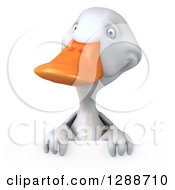 Clipart Of A 3d White Duck Over A Sign Royalty Free Illustration