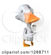 Clipart Of A 3d Full Length White Duck Pointing Around A Sign Royalty Free Illustration