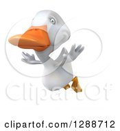 Clipart Of A 3d White Duck Flying To The Left Royalty Free Illustration