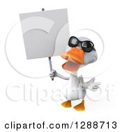 Clipart Of A 3d White Duck Wearing Sunglasses Shrugging And Holding A Blank Sign Royalty Free Illustration