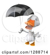 Clipart Of A 3d White Duck Shrugging And Holding A Black Umbrella Royalty Free Illustration