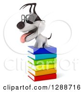 Clipart Of A 3d Bespectacled Jack Russell Terrier Dog Facing Left On A Stack Of Books Royalty Free Illustration