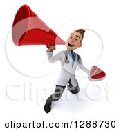 Clipart Of A 3d Young Brunette White Male Doctor Holding A Beef Steak And Announcing Upwards With A Megaphone Royalty Free Illustration