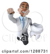 3d Young Black Male Doctor Holding A Tooth And Flying