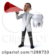 Clipart Of A 3d Young Black Male Doctor Holding A Tooth And Announcing With A Megaphone Royalty Free Illustration