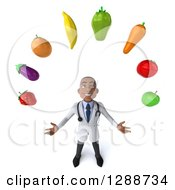 3d Young Black Male Doctor Looking Up And Juggling Produce