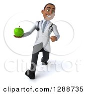 3d Young Black Male Doctor Walking And Holding A Green Apple