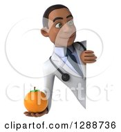 3d Young Black Male Doctor Holding An Orange Around A Sign