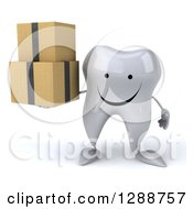 Clipart Of A 3d Happy Tooth Character Holding Boxes Royalty Free Illustration