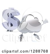 Clipart Of A 3d Silver Cloud Character Facing Slightly Right Jumping And Holding A Dollar Currency Symbol Royalty Free Illustration by Julos
