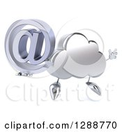 Clipart Of A 3d Silver Cloud Character Facing Slightly Right Jumping And Holding An Email Arobase At Symbol Royalty Free Illustration by Julos