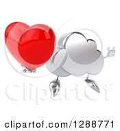 Clipart Of A 3d Silver Cloud Character Facing Slightly Right Jumping And Holding A Heart Royalty Free Illustration