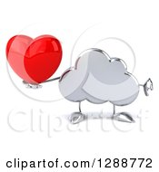 Clipart Of A 3d Silver Cloud Character Holding A Thumb Down And A Heart Royalty Free Illustration