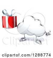 Clipart Of A 3d Silver Cloud Character Shrugging And Holding A Gift Royalty Free Illustration by Julos