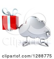 Clipart Of A 3d Silver Cloud Character Holding And Pointing To A Gift Royalty Free Illustration by Julos