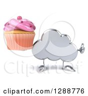 Clipart Of A 3d Silver Cloud Character Holding A Thumb Up And A Pink Frosted Cupcake Royalty Free Illustration by Julos