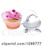 Clipart Of A 3d Silver Cloud Character Holding Up A Pink Frosted Cupcake Royalty Free Illustration by Julos