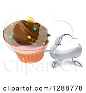 Clipart Of A 3d Silver Cloud Character Holding Up A Chocolate Frosted Cupcake Royalty Free Illustration by Julos