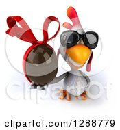 Clipart Of A 3d White Chicken Wearing Sunglasses And Holding Up A Chocolate Easter Egg Royalty Free Illustration