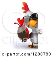 Clipart Of A 3d White Chicken Wearing Sunglasses And Holding A Chocolate Easter Egg Around A Sign Royalty Free Illustration