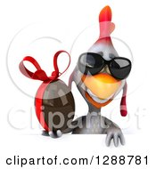 Clipart Of A 3d White Chicken Wearing Sunglasses And Holding A Chocolate Easter Egg Over A Sign Royalty Free Illustration