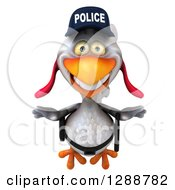 Clipart Of A 3d White Police Chicken Flying Royalty Free Illustration
