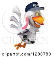 Clipart Of A 3d White Police Chicken Flying To The Right Royalty Free Illustration