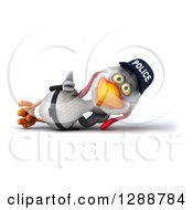 Clipart Of A 3d White Police Chicken Resting On His Side And Holding A Thumb Up Royalty Free Illustration