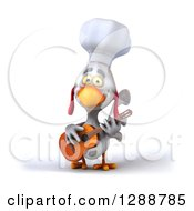 Clipart Of A 3d White Chef Chicken Playing A Guitar 2 Royalty Free Illustration by Julos