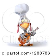 Clipart Of A 3d White Chef Chicken Playing A Guitar Royalty Free Illustration by Julos
