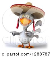 Clipart Of A 3d White Mexican Chicken Wearing A Sombrero And Pointing To The Left Royalty Free Illustration by Julos