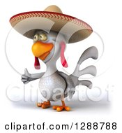 3d White Mexican Chicken Wearing A Sombrero Facing Left And Holding A Thumb Up