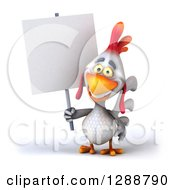 Clipart Of A 3d White Chicken Holding A Blank Sign Royalty Free Illustration