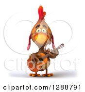 Clipart Of A 3d Brown Chicken Playing An Acoustic Guitar Royalty Free Illustration