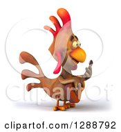 Clipart Of A 3d Brown Chicken Facing Right And Playing An Acoustic Guitar Royalty Free Illustration