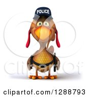 Clipart Of A 3d Brown Police Chicken Royalty Free Illustration