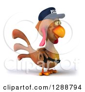 Clipart Of A 3d Brown Police Chicken Facing Right Royalty Free Illustration